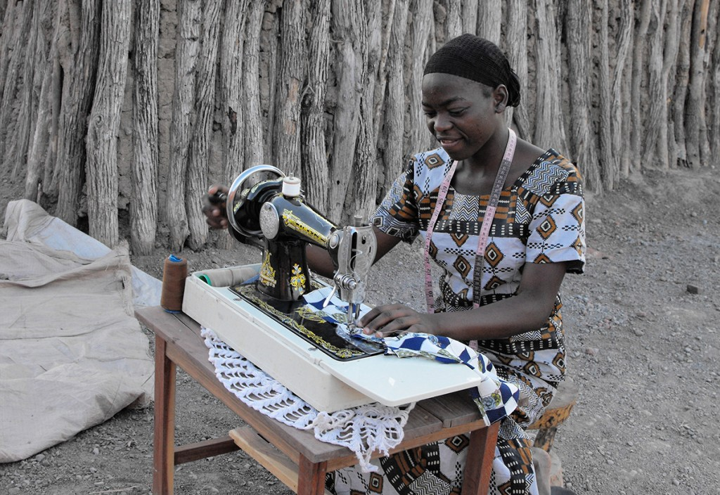 Seamstress / tailor box in use in Zambia