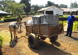 Some of our boxes being delivered in Kenya